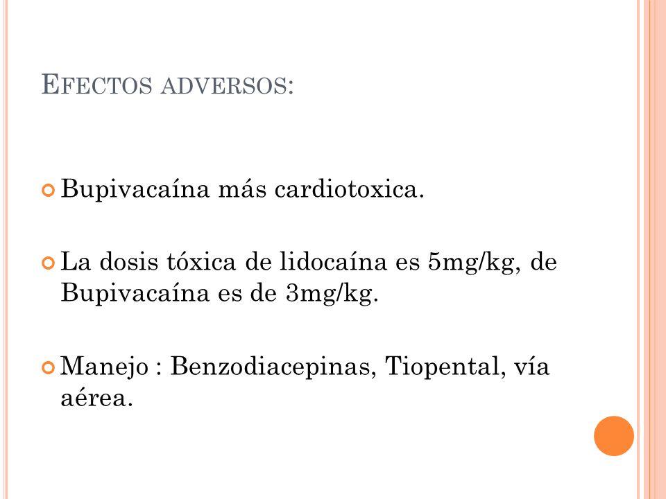 Efectos adversos: Bupivacaína más cardiotoxica.