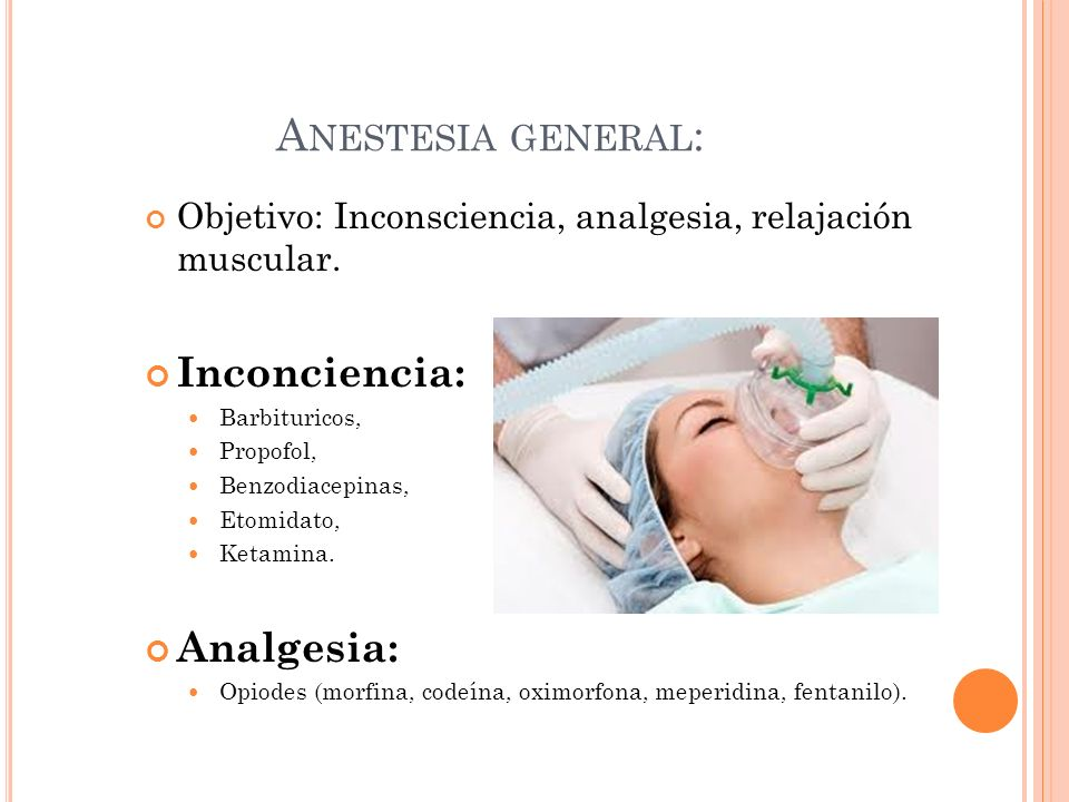 Anestesia general: Inconciencia: Analgesia: