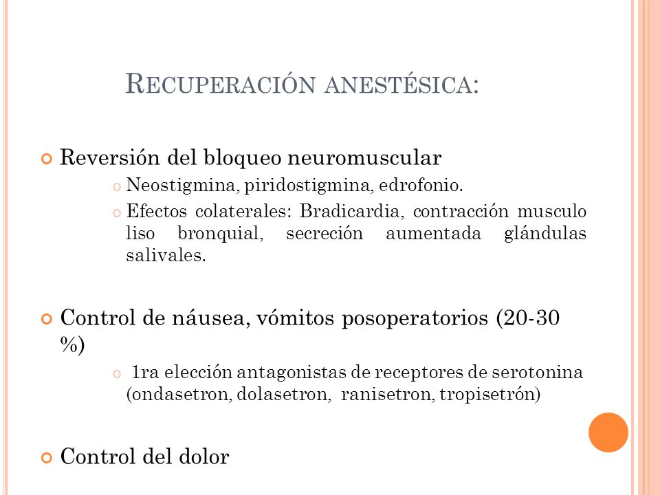Recuperación anestésica: