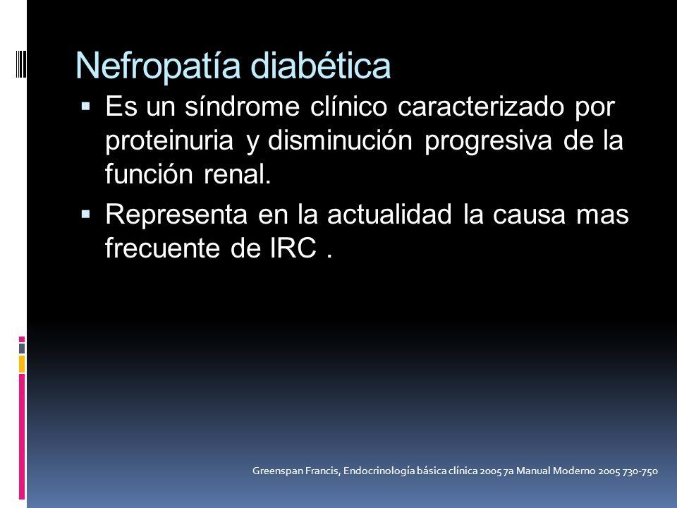 Nefropatía diabética Es un síndrome clínico caracterizado por proteinuria y disminución progresiva de la función renal.