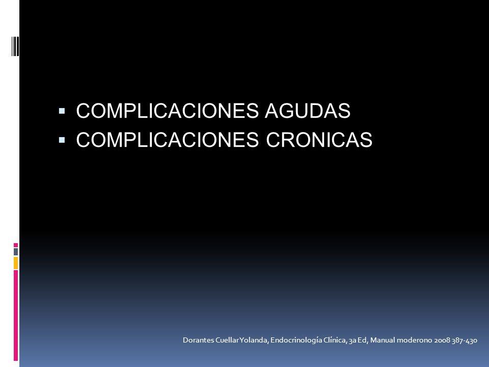 COMPLICACIONES AGUDAS COMPLICACIONES CRONICAS