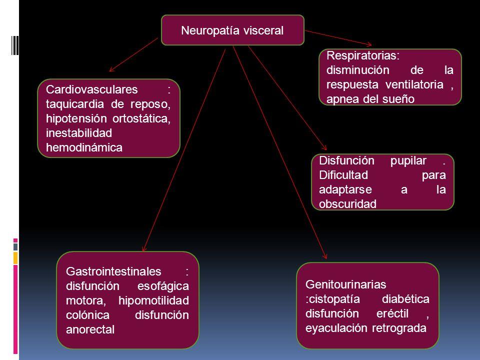 Neuropatía visceral Respiratorias: disminución de la respuesta ventilatoria , apnea del sueño.