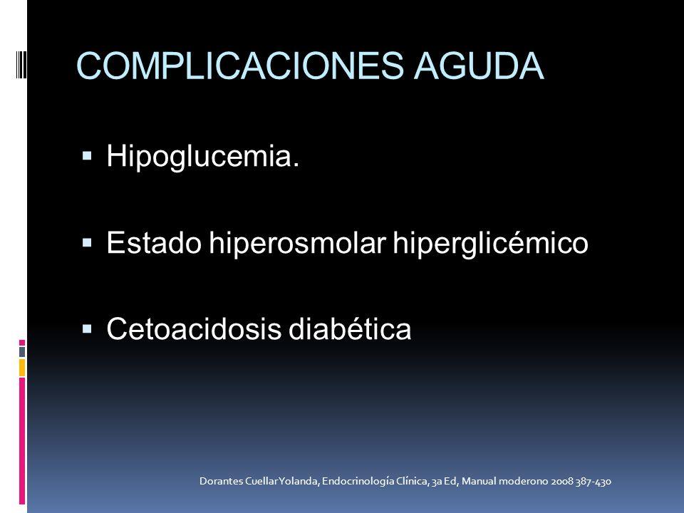 COMPLICACIONES AGUDA Hipoglucemia. Estado hiperosmolar hiperglicémico