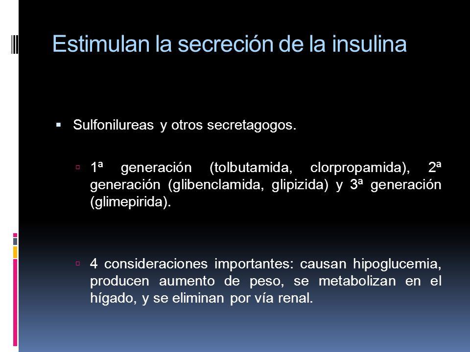 Estimulan la secreción de la insulina