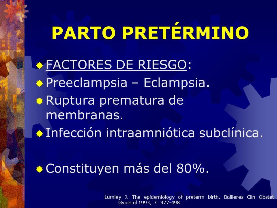 PARTO PRETÉRMINO FACTORES DE RIESGO: Preeclampsia – Eclampsia.