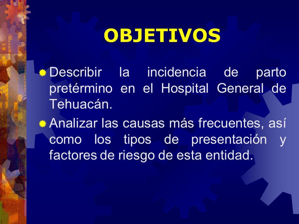 OBJETIVOSDescribir la incidencia de parto pretérmino en el Hospital General de Tehuacán.