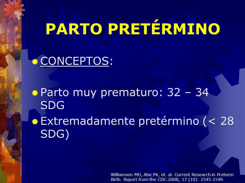 PARTO PRETÉRMINO CONCEPTOS: Parto muy prematuro: 32 – 34 SDG