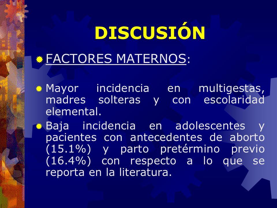 DISCUSIÓN FACTORES MATERNOS: