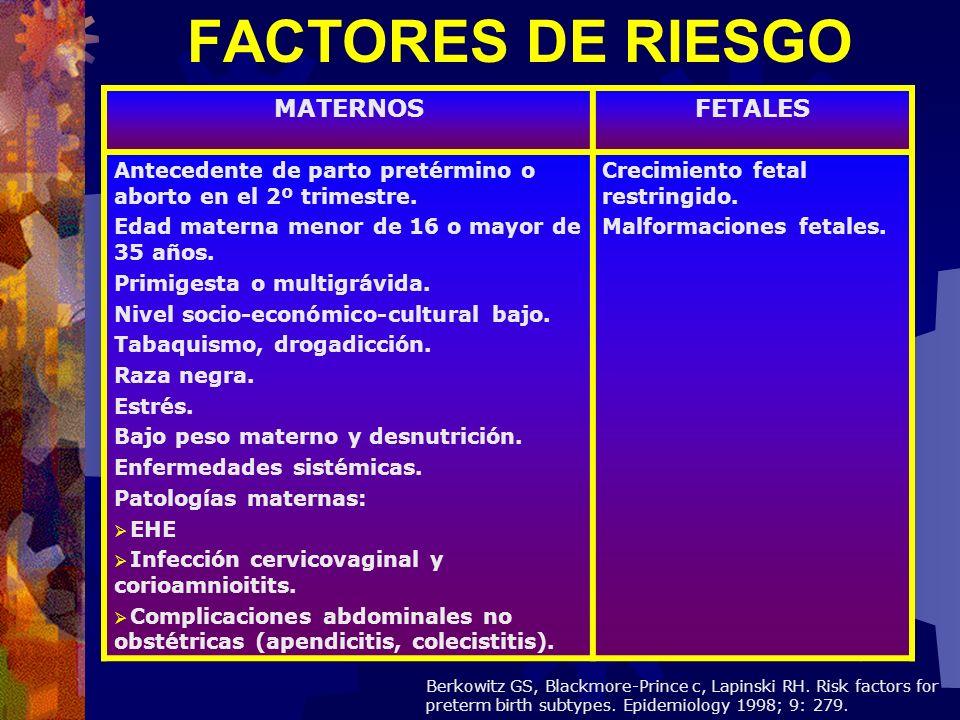FACTORES DE RIESGO MATERNOS FETALES