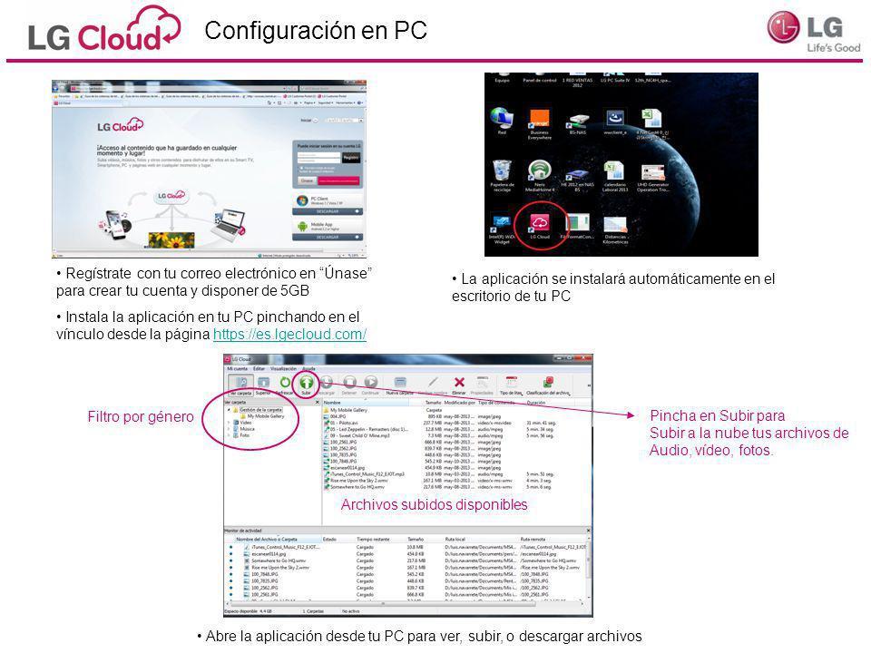 Configuración en PC Regístrate con tu correo electrónico en Únase para crear tu cuenta y disponer de 5GB.