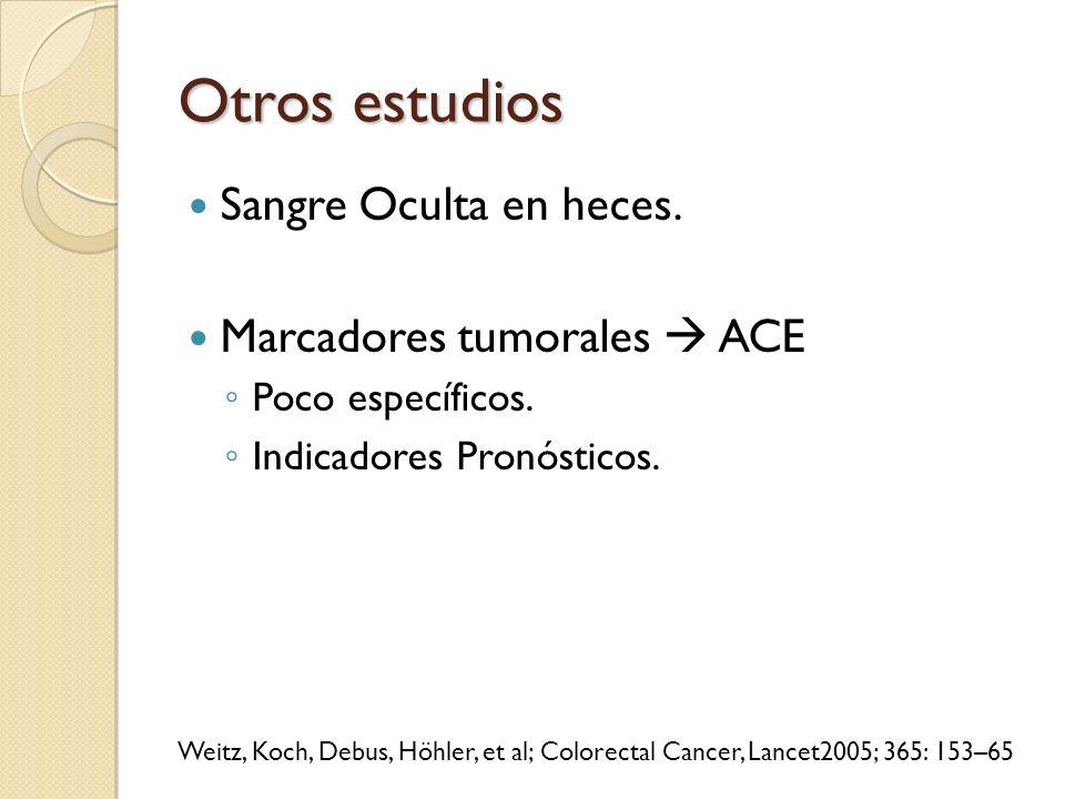Otros estudios Sangre Oculta en heces. Marcadores tumorales  ACE