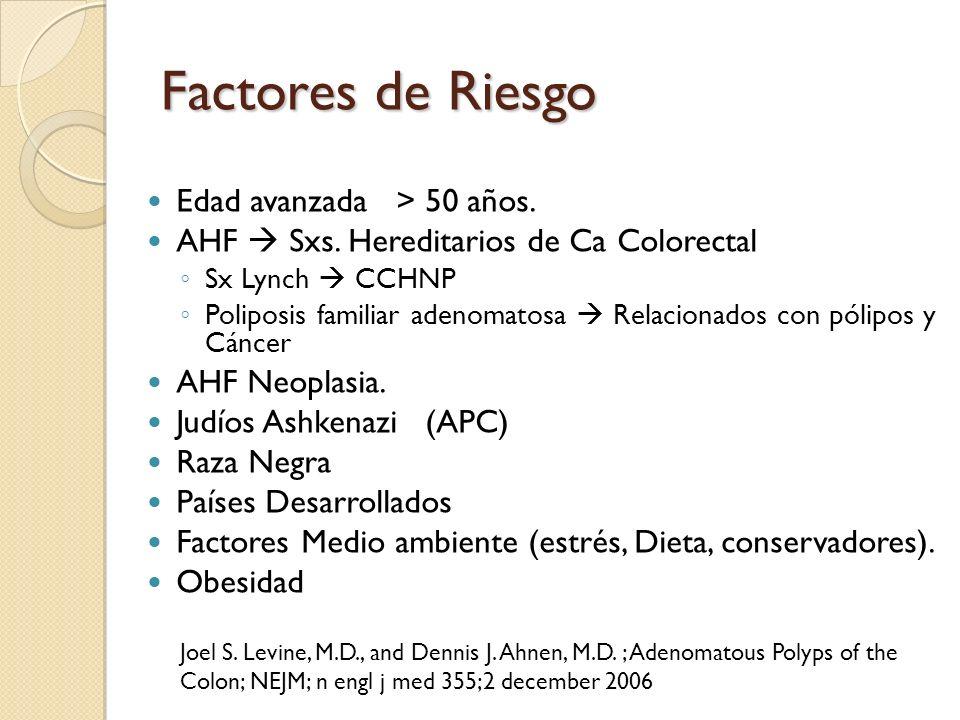 Factores de Riesgo Edad avanzada > 50 años.