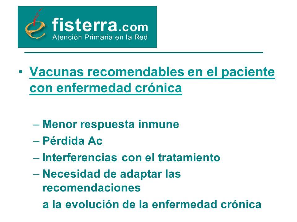 Vacunas recomendables en el paciente con enfermedad crónica