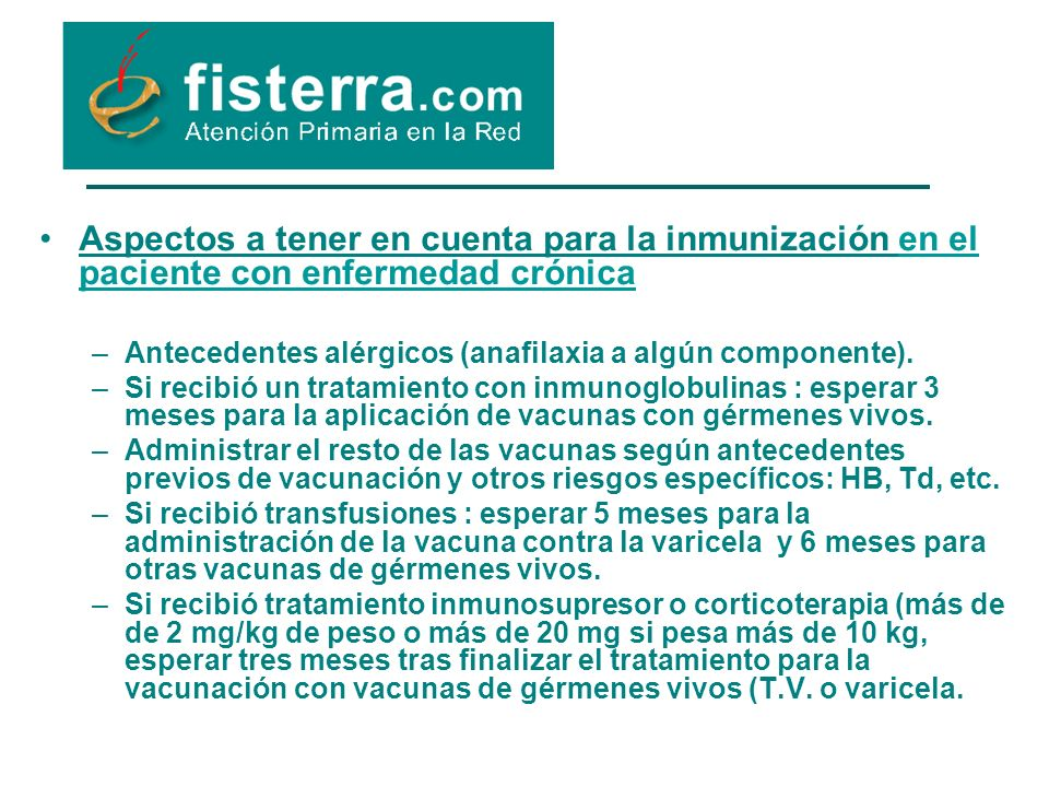 Aspectos a tener en cuenta para la inmunización en el paciente con enfermedad crónica