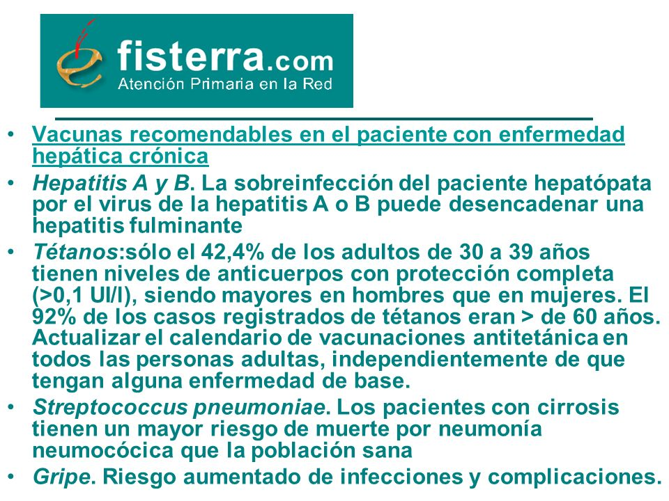 Vacunas recomendables en el paciente con enfermedad hepática crónica