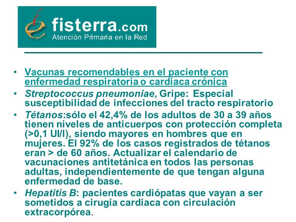 Vacunas recomendables en el paciente con enfermedad respiratoria o cardiaca crónica