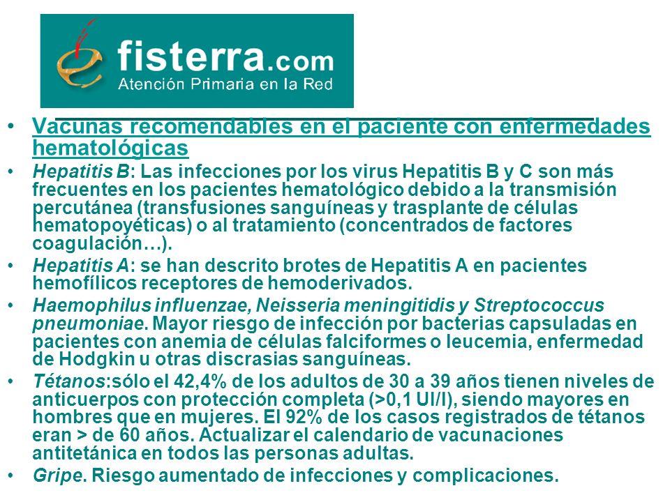 Vacunas recomendables en el paciente con enfermedades hematológicas