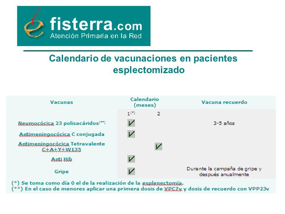 Calendario de vacunaciones en pacientes esplectomizado
