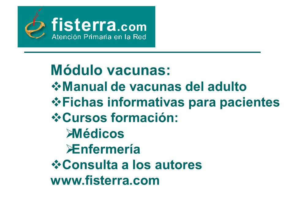 Módulo vacunas: Manual de vacunas del adulto
