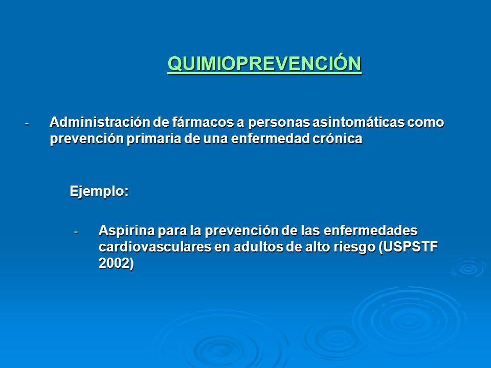 QUIMIOPREVENCIÓNAdministración de fármacos a personas asintomáticas como prevención primaria de una enfermedad crónica.