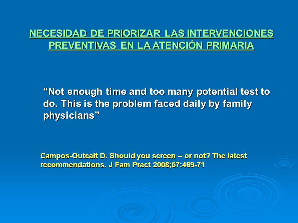 NECESIDAD DE PRIORIZAR LAS INTERVENCIONES PREVENTIVAS EN LA ATENCIÓN PRIMARIA