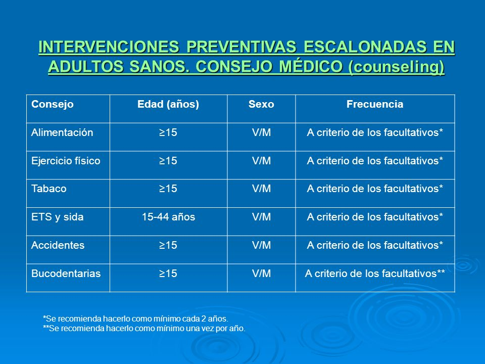 INTERVENCIONES PREVENTIVAS ESCALONADAS EN ADULTOS SANOS