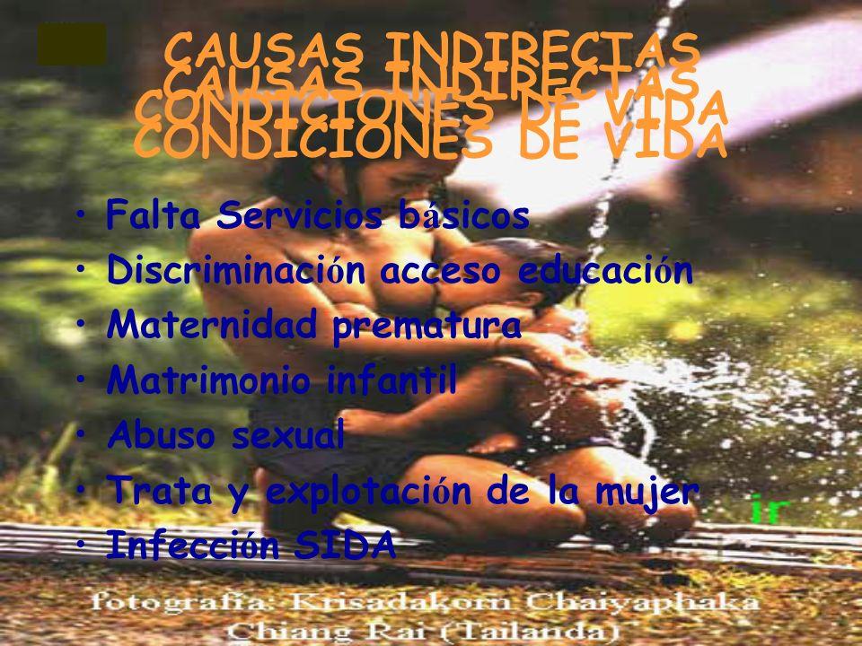 CAUSAS INDIRECTAS CONDICIONES DE VIDA