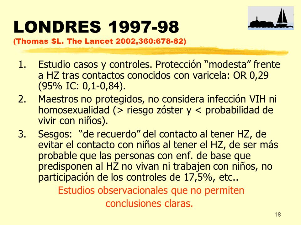 LONDRES (Thomas SL. The Lancet 2002,360:678-82)