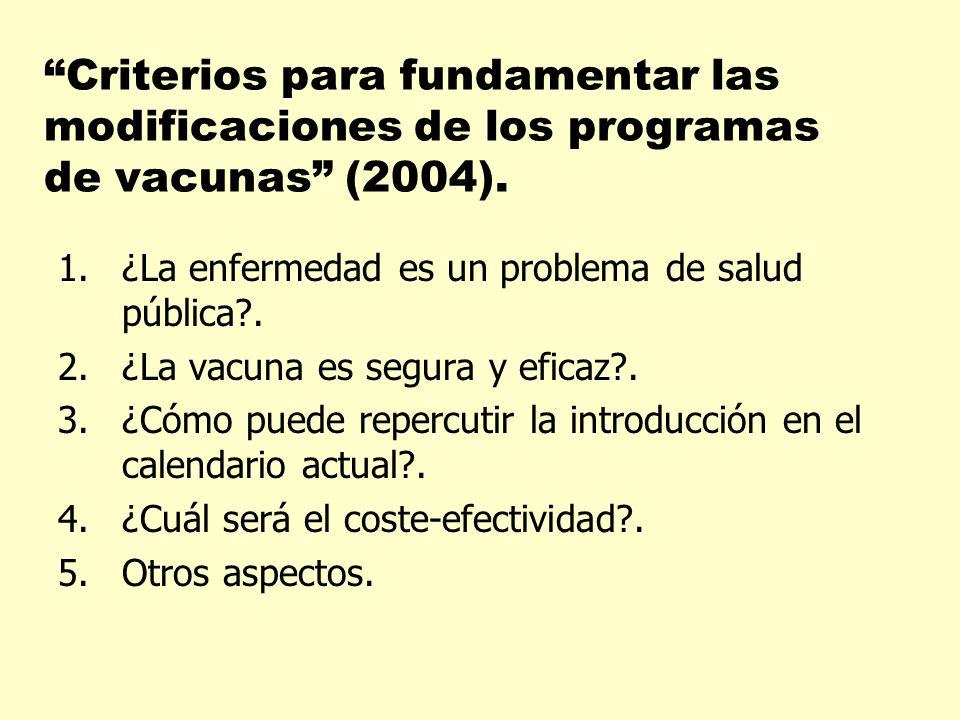 Criterios para fundamentar las modificaciones de los programas de vacunas (2004).
