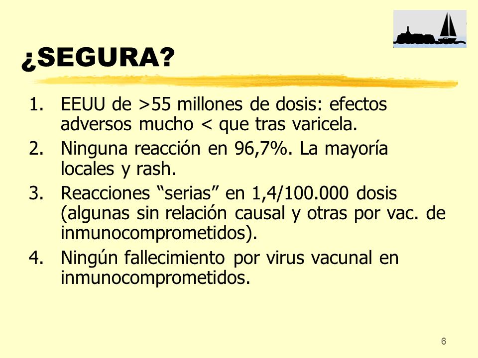 ¿SEGURA EEUU de >55 millones de dosis: efectos adversos mucho < que tras varicela. Ninguna reacción en 96,7%. La mayoría locales y rash.