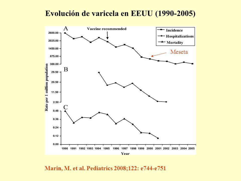 Evolución de varicela en EEUU (1990-2005)
