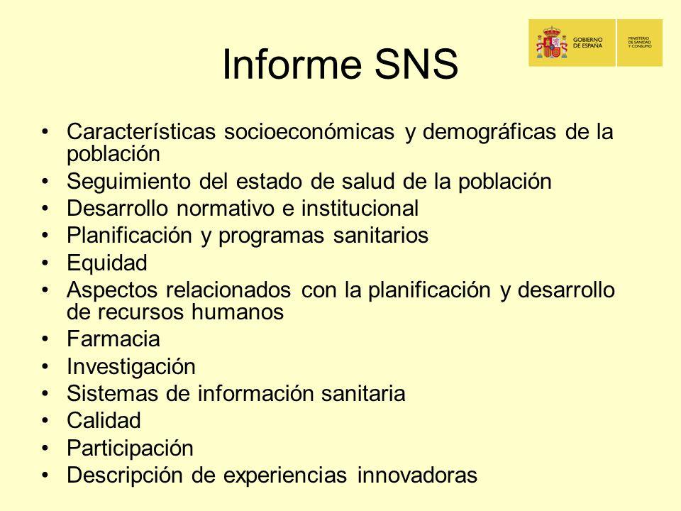 Informe SNS Características socioeconómicas y demográficas de la población. Seguimiento del estado de salud de la población.