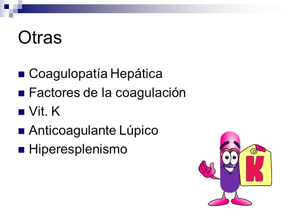 Otras Coagulopatía Hepática Factores de la coagulación Vit. K