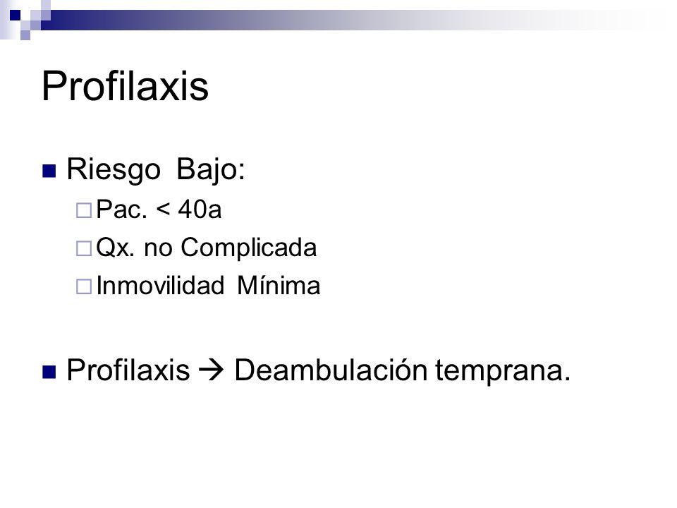 Profilaxis Riesgo Bajo: Profilaxis  Deambulación temprana.