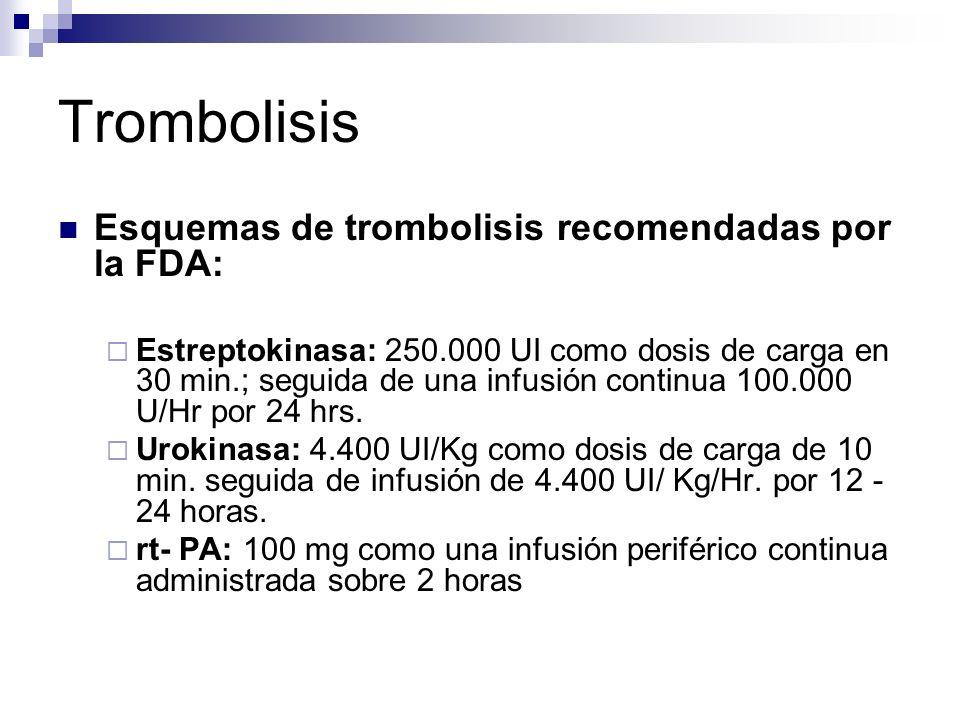 Trombolisis Esquemas de trombolisis recomendadas por la FDA: