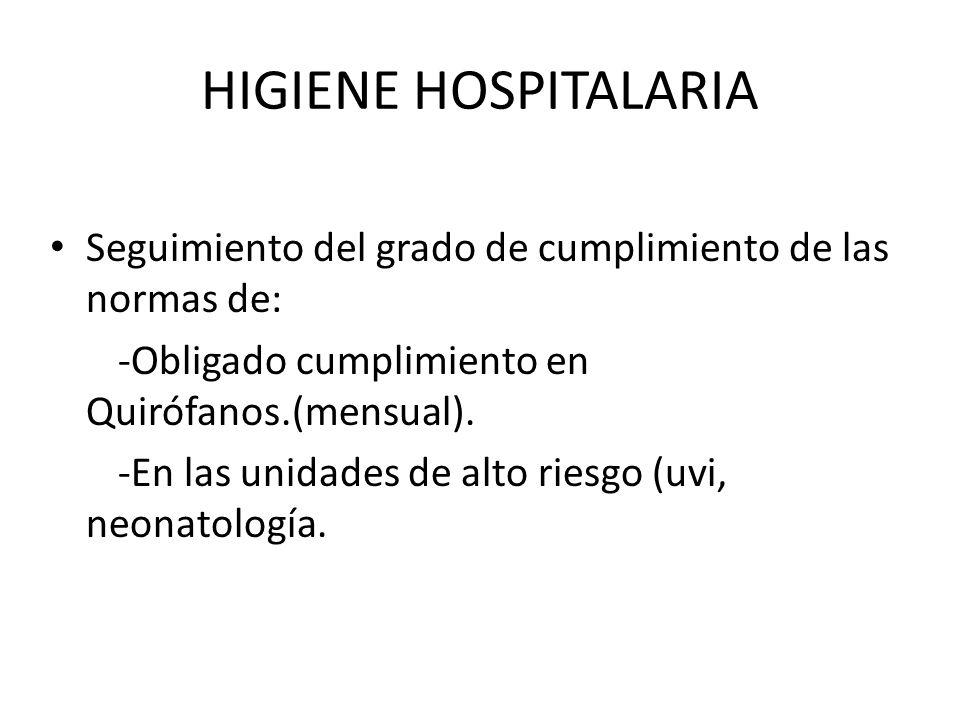 HIGIENE HOSPITALARIA Seguimiento del grado de cumplimiento de las normas de: -Obligado cumplimiento en Quirófanos.(mensual).