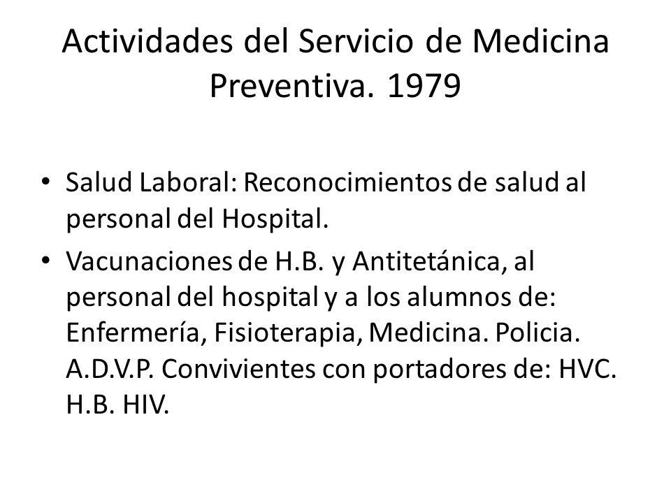 Actividades del Servicio de Medicina Preventiva. 1979