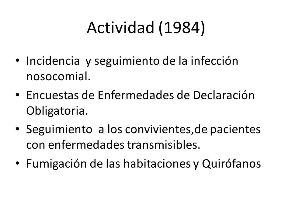 Actividad (1984) Incidencia y seguimiento de la infección nosocomial.