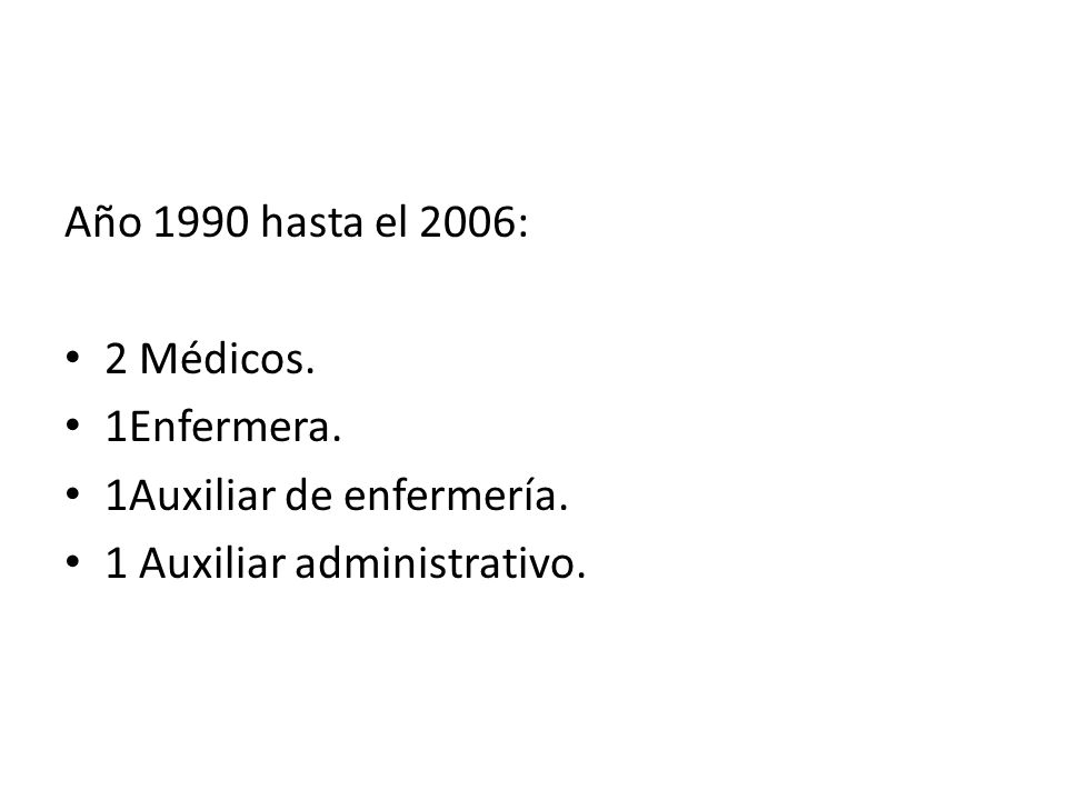 Año 1990 hasta el 2006: 2 Médicos. 1Enfermera. 1Auxiliar de enfermería. 1 Auxiliar administrativo.