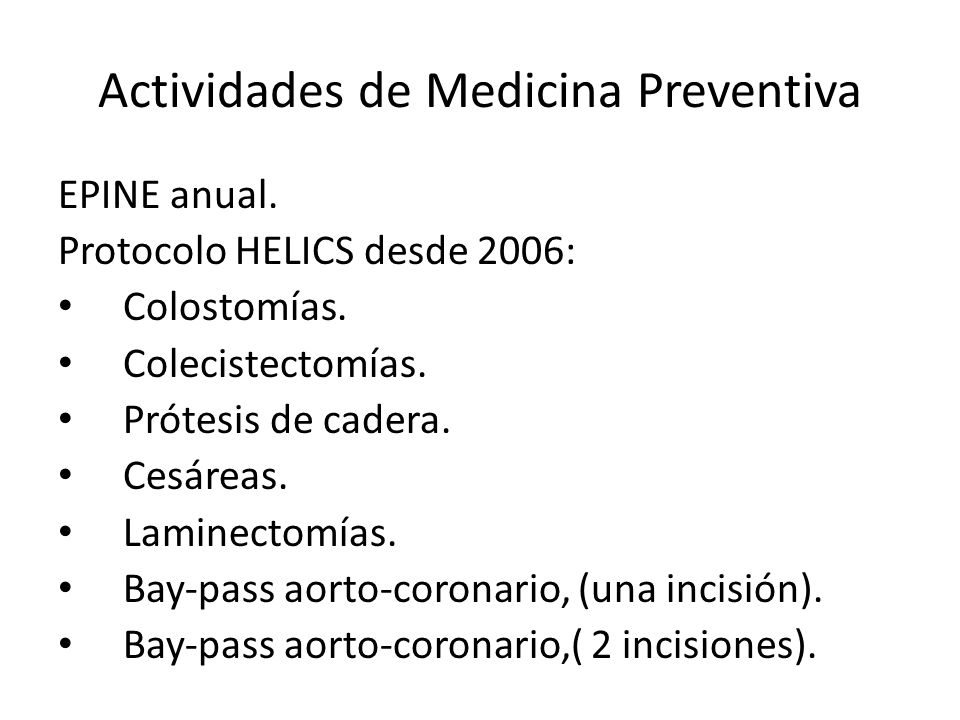 Actividades de Medicina Preventiva