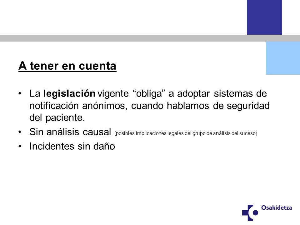 A tener en cuenta La legislación vigente obliga a adoptar sistemas de notificación anónimos, cuando hablamos de seguridad del paciente.