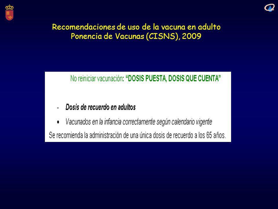 Recomendaciones de uso de la vacuna en adulto
