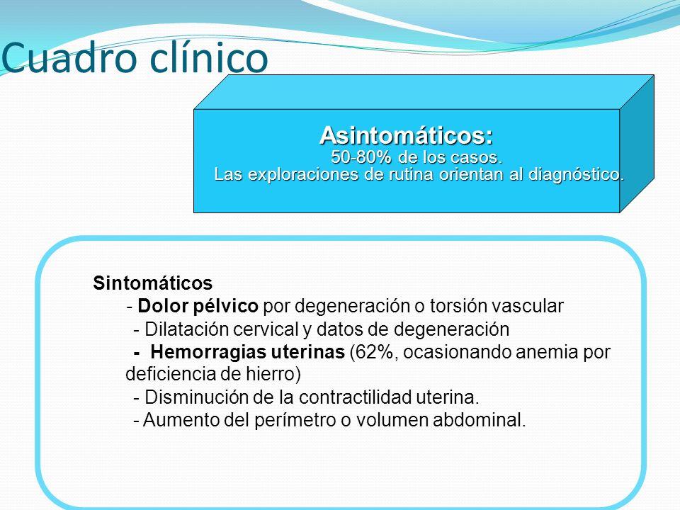 Cuadro clínico Asintomáticos: 50-80% de los casos. Las exploraciones de rutina orientan al diagnóstico.