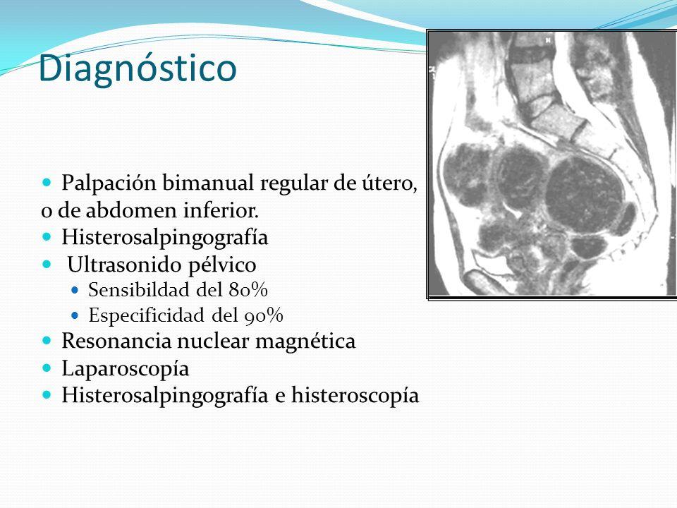 Diagnóstico Palpación bimanual regular de útero,