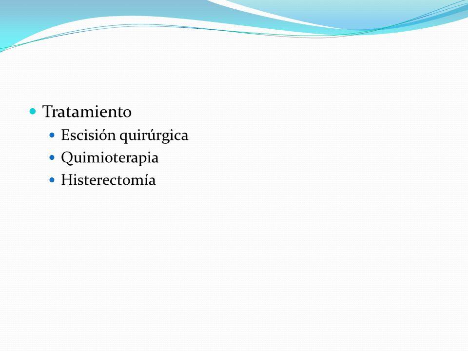 Tratamiento Escisión quirúrgica Quimioterapia Histerectomía