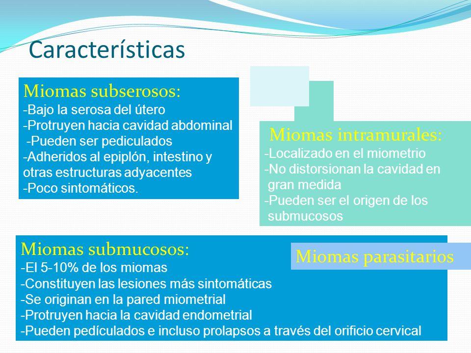 Características Miomas subserosos: Miomas intramurales: