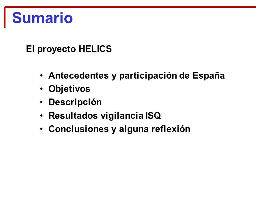 Sumario El proyecto HELICS Antecedentes y participación de España