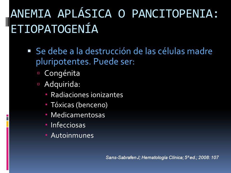 ANEMIA APLÁSICA O PANCITOPENIA: ETIOPATOGENÍA