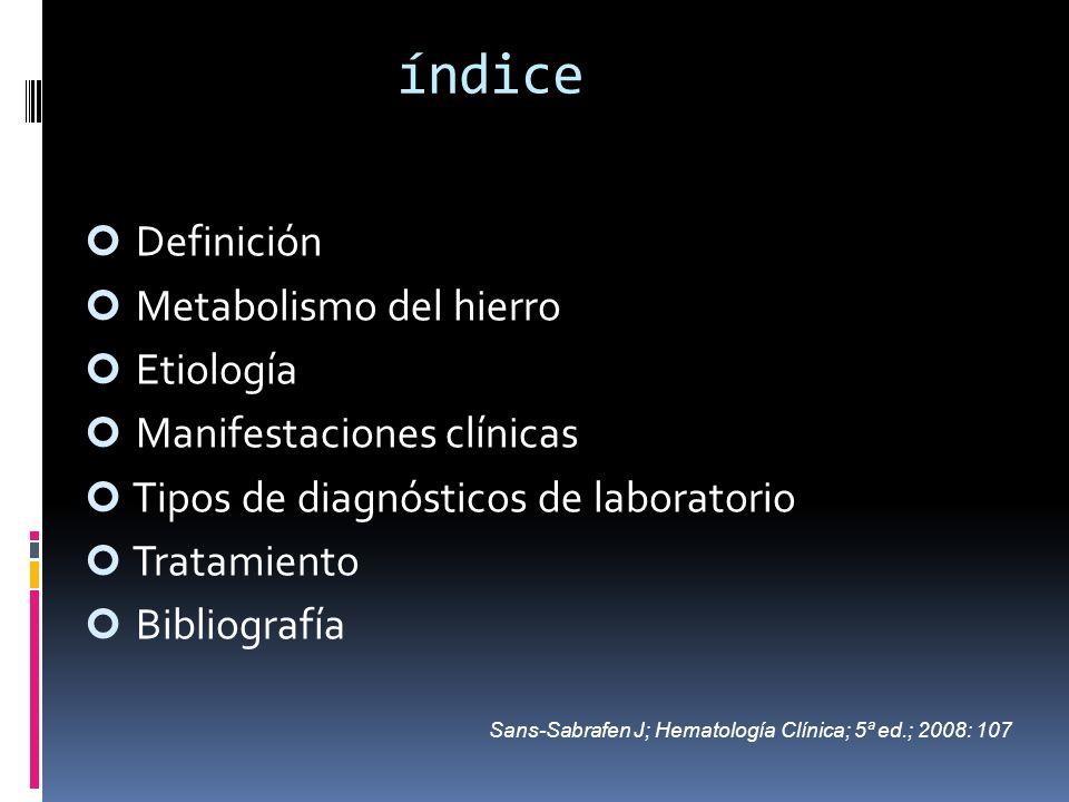índice Definición Metabolismo del hierro Etiología