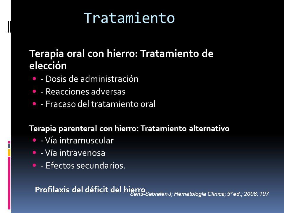 Tratamiento Terapia oral con hierro: Tratamiento de elección